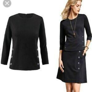 Cabi black button side utility scoop neck blouse